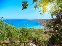 Stairs to beach coast landscape mediterranean sea Cyprus island Royalty Free Stock Images