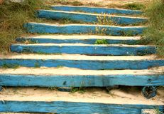 Stairs. Blue wood stairs Royalty Free Stock Images