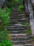 Stairs. Stone stairs leads up to Tisa Rocks Royalty Free Stock Image