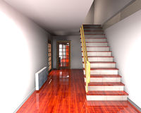 Stairs. Spacious modern hallway with staircase to upper floor Stock Photos