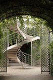 Stairs. Stainless steel stairs in garden stock photos