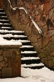 Stairs. Covered by snow, vertically framed shot stock photo
