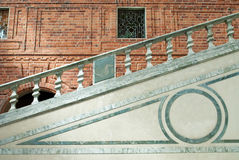 Stairs. The stairs of the swedish city hall with a great brickwall in the background stock image