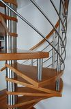 Stairs. Wood strairs with stainless steel Stock Photos