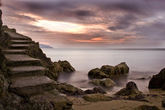Stairs. Sunset on the coastline of elba island in winter Stock Images
