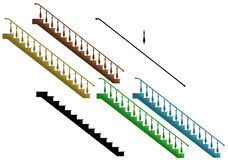 Stairs. Illustration of stairs in different colors. Stair elements stock illustration