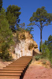 Stairs. A nice view of stairs in the way of ocher in Roussilon,Provence,France Royalty Free Stock Images