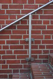 Stairs. Bricked stairs with metal railing royalty free stock photography