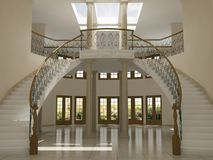 Stairs. Interior photo realistic renderings of a luxurious home Royalty Free Stock Image