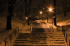 Stairs. At night royalty free stock photos