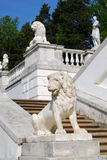 Stairs. With classical marble statues in terraced garden. Archangelskoe estate, Moscow, Russia stock image