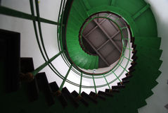 Stairs. Green spiral staircase in a cylindrical well Stock Images