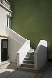 Stairs. Mediterranean stairs with green and white walls stock photos
