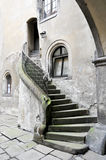 Stairs. Old stone stairs leading to closed door royalty free stock photos