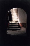 Stairs. After a doorway at the Cesky Krumlov Castle - Czech Republic Stock Photos