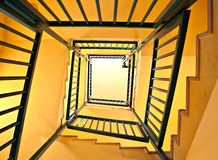 Stairs. Spiral staircase in the apartment house. bottom view Royalty Free Stock Photos