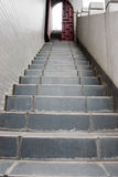 Stairs and ajar door. The upwards grey stairs and ajar door with walls of both sides Royalty Free Stock Photos