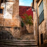 Stairs in an alley of Cáceres (Spain). Stairs detail of narrow cobblestone alley in Caceres (Spain stock photos