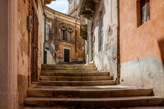 Stairs Through Alley in Sicilian City of Modica Royalty Free Stock Photos