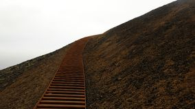 Stairs along the volcano crater `Stairs to the heaven`. In Iceland Royalty Free Stock Photo