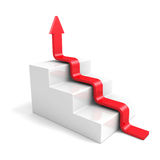 Stairs arrow going upward grow on white background. success conc Stock Images