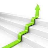 Stairs arrow going upward grow on white background. success conc Royalty Free Stock Photo
