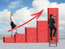 Stairs as a huge red bar chart are on the roof. A woman is going up to the stairs, while a man has discovered a shortcut hot to re Stock Image