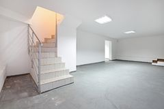 Stairs Basement. Stairs To Empty Basement Storage Room royalty free stock photo