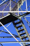 Stairs and beams on fire tower. Detail view of stairs and beams on inactive fire tower Royalty Free Stock Photos