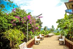 Stairs, benches and bright blue sky in Koh Samui Royalty Free Stock Photos