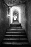 Stairs in black and white. A staircase inside an old monastery Royalty Free Stock Photography