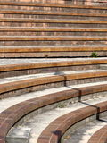 Stairs and bleachers. Concrete stairs on a bank of the river . Black and white shot royalty free stock photo