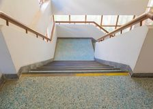 Free Stairs Blue Old Terrazzo Floor Walkway Down Inside The Building. Select Focus With Shallow Depth Of Field Royalty Free Stock Photos - 118999188