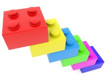 Stairs build from toy bricks.3d illustration. In backgrounds Royalty Free Stock Photography