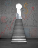 Stairs with business doodles and key shape door Royalty Free Stock Photography