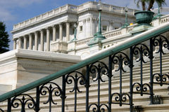 Stairs at the Capitol. Beautiful wrought iron stairs lead up to the U.S. Capitol building in Washington, D.C stock photography