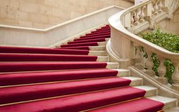Stairs with carpet. Elegant marble stairs with red carpet gala Stock Photography