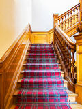 Stairs with carpet strip stock image