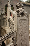 Stairs with carved stone lion statue in a temple Stock Photography