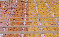 Stairs from ceramic. Colorful pattern of stairs from broken ceramic tile stock photography