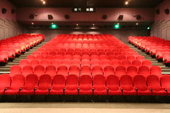 Stairs and chairs in a cinema Royalty Free Stock Photos