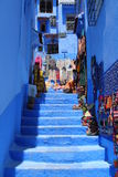 Stairs in Chefchaouen Stock Photography