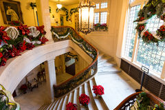 Stairs Christmas Decorations in Pittock Mansion. Famous museum in Portland, Oregon, Pittock Mansion decorated for Christmas royalty free stock photography