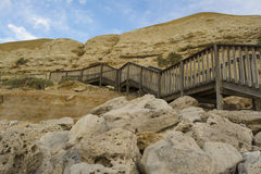 Stairs and Cliffs at Port Willunga, South Australia at Sunset Stock Photo