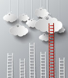 Stairs on a cloud concept vector. Royalty Free Stock Photos