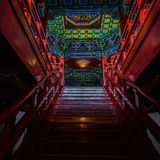 Stairs and colored dome in Nanjing Yuejianglou Tower (River Watchtower) Royalty Free Stock Photos