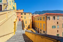 Colorful houses of Menton, France. Royalty Free Stock Image