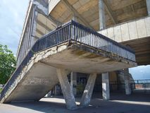Stairs and concrete structure of old strahov stadion in prague Royalty Free Stock Image