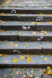 Stairs covered with autumn dry leaves. Royalty Free Stock Image