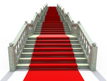 Stairs covered with red carpet. Luxury stairs covered with red carpet - 3d render Stock Photos